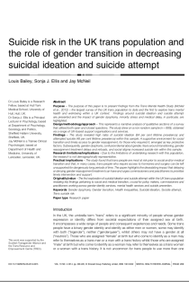 Suicide risk in the UK trans population and the role of gender transition in decreasing suicidal ideation and suicide attempt