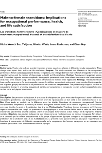 Male-to-female transitions: Implications for occupational performance, health, and life satisfaction