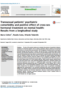 Transsexual patients' psychiatric comorbidity and positive effect of cross-sex hormonal treatment on mental health: results from a longitudinal study