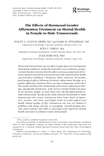 The Effects of Hormonal Gender Affirmation Treatment on Mental Health in Female-to-Male Transsexuals