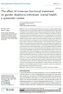 The effect of cross-sex hormonal treatment on gender dysphoria individuals' mental health: a systematic review