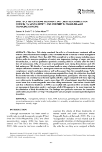 Effects of Testosterone Treatment and Chest Reconstruction Surgery on Mental Health and Sexuality in Female-To-Male Transgender People