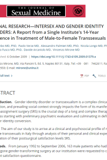 A report from a single institute's 14-year experience in treatment of male-to-female transsexuals