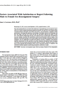 Factors associated with satisfaction or regret following male-to-female sex reassignment surgery