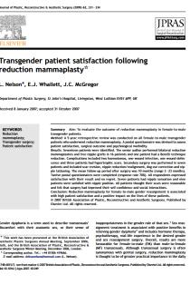 Transgender patient satisfaction following reduction mammaplasty