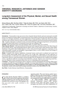 Long-term assessment of the physical, mental, and sexual health among transsexual women