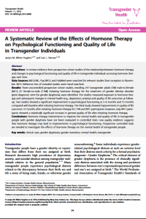 A Systematic Review of the Effects of Hormone Therapy on Psychological Functioning and Quality of Life in Transgender Individuals