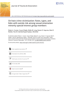 On hate crime victimization: Rates, types, and links with suicide risk among sexual orientation minority special interest group members.