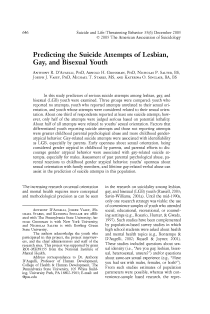 Predicting the suicide attempts of lesbian, gay, and bisexual youth.