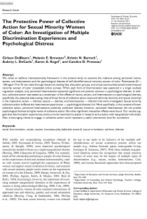 The protective power of collective action for sexual minority women of color: An investigation of multiple discrimination experiences and psychological distress.