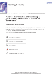 Perceived discrimination and well-being in gay men: The protective role of behavioural identification.