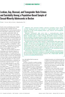 Lesbian, gay, bisexual, and transgender hate crimes and suicidality among a population-based sample of sexual-minority adolescents in Boston.