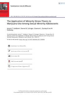 The application of minority stress theory to marijuana use among sexual minority adolescents.