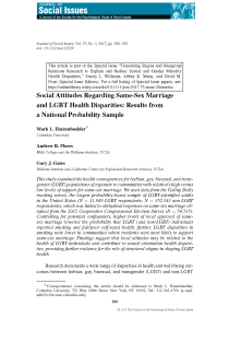 Social attitudes regarding same-sex marriage and LGBT health disparities: Results from a national probability sample.