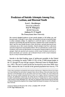 Predictors of suicide attempts among gay, lesbian, and bisexual youth.