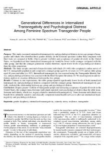 Generational Differences in Internalized Transnegativity and Psychological Distress Among Feminine Spectrum Transgender People.