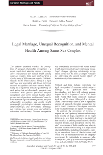 Legal Marriage, Unequal Recognition, and Mental Health among Same-Sex Couples.