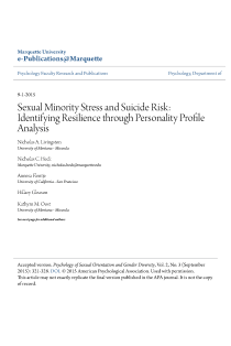 Sexual Minority Stress and Suicide Risk: Identifying Resilience through Personality Profile Analysis.
