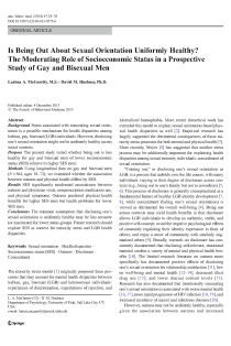 Is being out about sexual orientation uniformly healthy? The moderating role of socioeconomic status in a prospective study of gay and bisexual men.