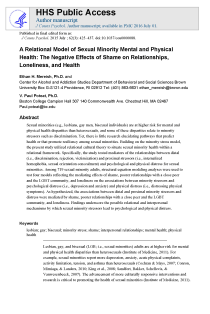 A relational model of sexual minority mental and physical health: The negative effects of shame on relationships, loneliness, and health.