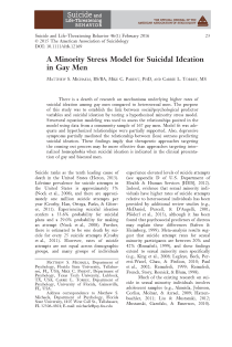 A Minority Stress Model for Suicidal Ideation in Gay Men.
