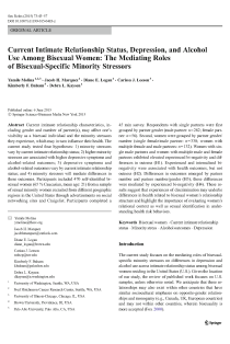 Current intimate relationship status, depression, and alcohol use among bisexual women: The mediating roles of bisexual-specific minority stressors.