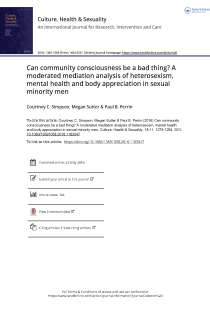 Can community consciousness be a bad thing? A moderated mediation analysis of heterosexism, mental health and body appreciation in sexual minority men.