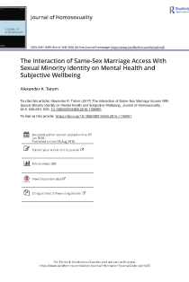 The Interaction of Same-Sex Marriage Access With Sexual Minority Identity on Mental Health and Subjective Wellbeing.