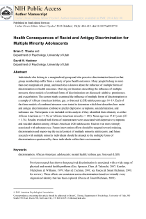 Health consequences of racist and antigay discrimination for multiple minority adolescents.