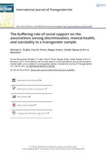 The buffering role of social support on the associations among discrimination, mental health, and suicidality in a transgender sample.