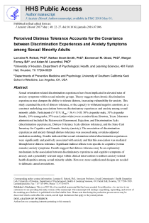 Perceived distress tolerance accounts for the covariance between discrimination experiences and anxiety symptoms among sexual minority adults.