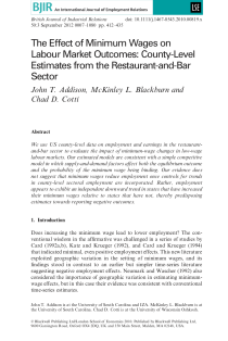 The Effect of Minimum Wages on Labour Market Outcomes: County-Level Estimates from the Restaurant-and-Bar Sector.