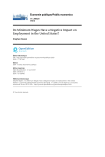 Do Minimum Wages Have a Negative Impact on Employment in the United States?.