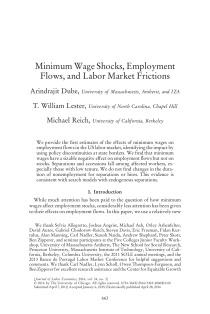 Minimum Wage Shocks, Employment Flows, and Labor Market Frictions.