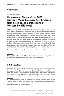 Employment Effects of the 2009 Minimum Wage Increase: New Evidence from State-Based Comparisons of Workers by Skill Level.