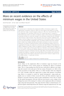 More on Recent Evidence on the Effects of Minimum Wages in the United States.