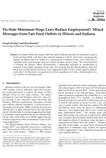 Do State Minimum Wage Laws Reduce Employment? Mixed Messages from Fast Food Outlets in Illinois and Indiana.