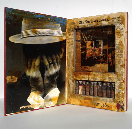 """New York Times 1949, 2010"" unique mixed media ""artist book"" by Stephen Sheffield (courtesy of the artist and Panopticon Gallery)"
