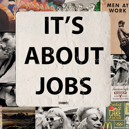 """It's About Jobs, 2014"", 11""x11"" unique mixed media by Jim Fitts (courtesy of the artist and Panopticon Gallery)"