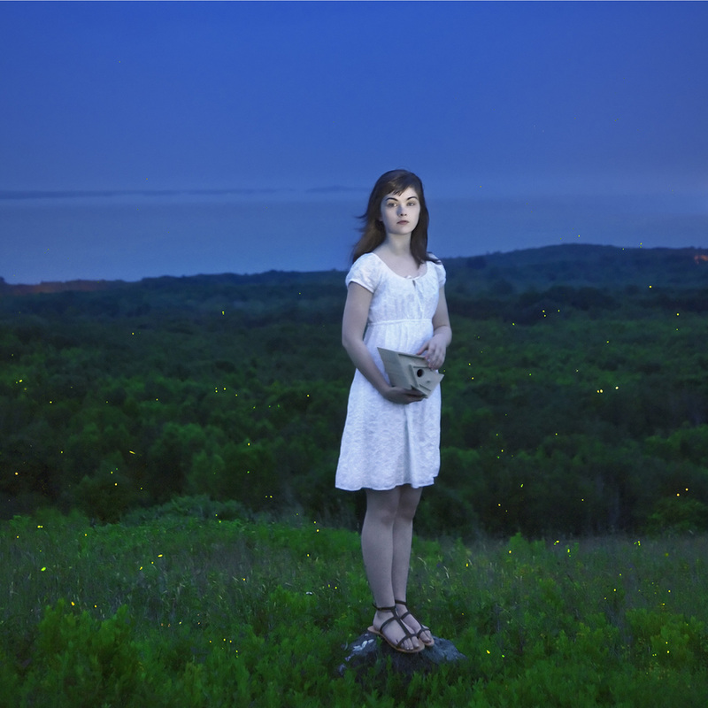 """Devin and the Fireflies, 2013"" framed videograph from the series ""Gardening at Night"" by Cig Harvey (courtesy of the artist and Drift Gallery)"