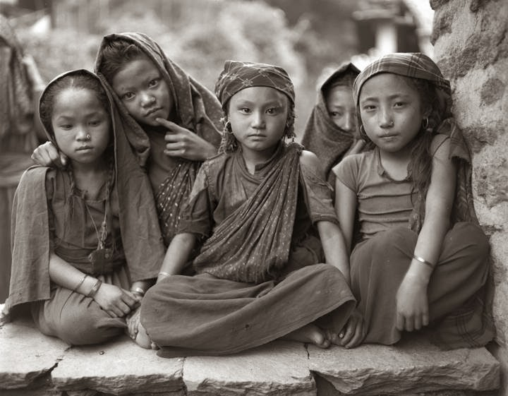 """Gurung Girls, Barpak, Gorkha, Nepal, 1984"" archival inkjet print by Kevin Bubriski (courtesy of the artist and Gallery Kayafas, Boston)"