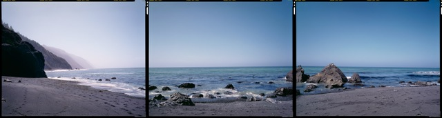 """""""N 40° 01' 11.38"""" W 124° 02' 48.59"""" Shelter Cove, California, 2012"""", 8x30"""" pigmented ink prints from the series The Fortieth Parallel by Bruce Myren (courtesy of the artist and Gallery Kayafas, Boston)"""
