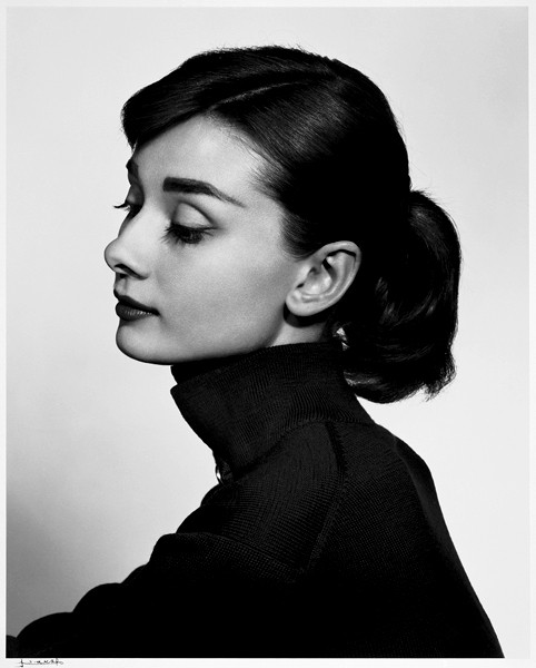 """Audrey Hepburn"" gelatin silver print by Yousuf Karsh (courtesy of theEstate of Yousuf Karsh and MFA, Boston)"