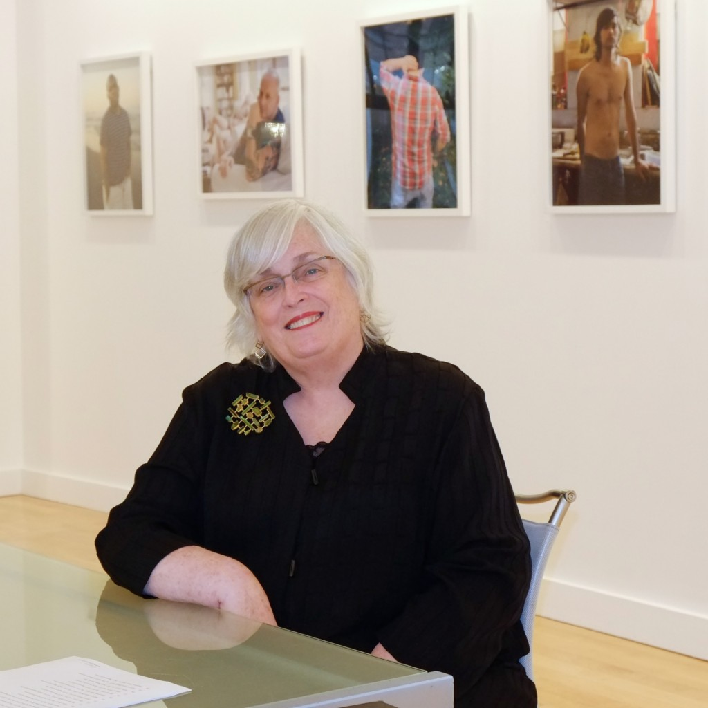 Arlette Kayafas in her gallery at 450 Harrison Avenue in Boston's South End. (photo by Elin Spring)