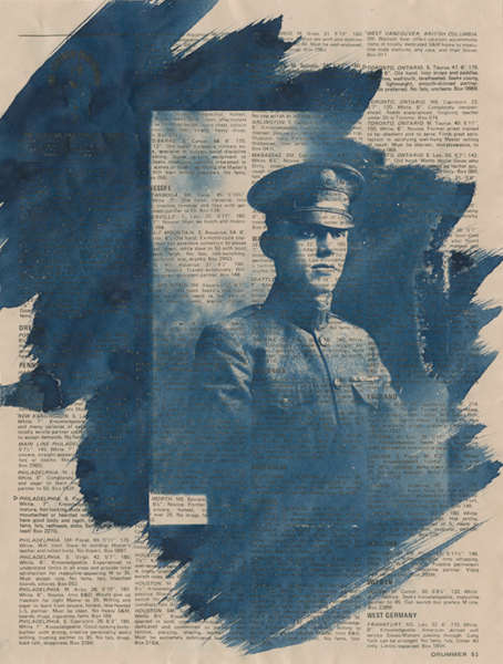 """""""Blue Boy #13, 2014"""" unique Cyanotype on vintage magazine page by Caleb Cole (courtesy of the artist and Gallery Kayafas, Boston)"""