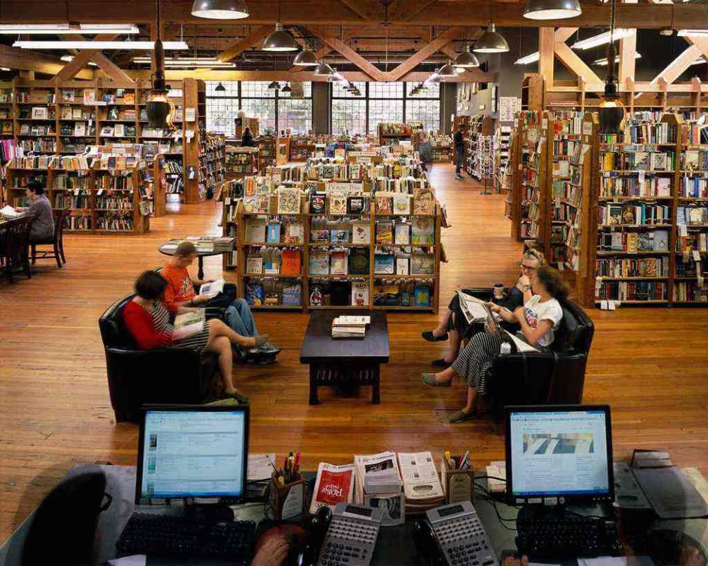 """Elliot Bay Book Company, Seattle, from the series """"The Last Bookstores: America's Resurgent Independents"""" by Bryan David Griffith (courtesy of the artist and Griffin Museum of Photography)"""