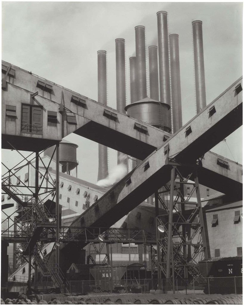 """""""Criss-Crossed Conveyors, Ford Plant, River Rouge, 1927"""" gelatin silver print by Charles Sheeler from The Lane Collection, appeared in the MFA, Boston exhibit """"Charles Sheeler"""" in 2003, curated by Karen Haas (courtesy of MFA, Boston)"""