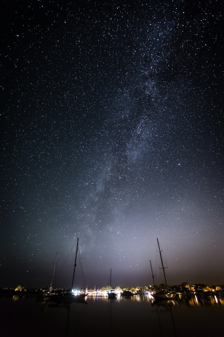 """""""The Milky Way Over Edgartown Harbor"""" from the series Night In Color by Christopher Wright (courtesy of the artist and 555 Gallery, Boston)"""