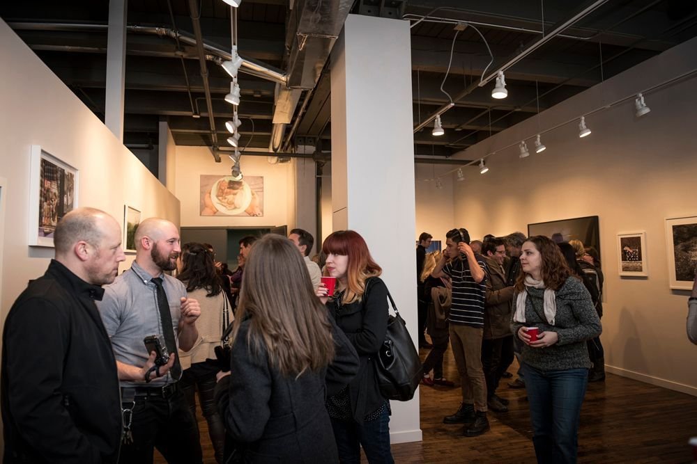"""Opening reception for """"Context 2015"""", the inaugural exhibit at Filter Space in Chicago's West Town (photo by Erin Hoyt)."""