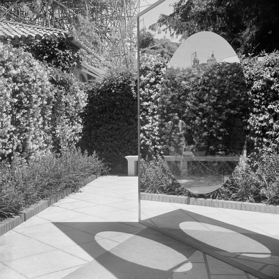 """""""Mirrored Cube Sculpture"""" archival gelatin silver print by Elizabeth Ellenwood  from the exhibition Elizabeth Ellenwood: Of Light and Line, Danforth Art, March 15 - May 17, 2015 (courtesy of the artist and Panopticon Gallery, Boston)."""